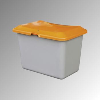 Streugutbehälter für Streusalz, Winterstreumittel, Futtermittel, 200 l Volumen, 640 x 890 x 600 mm (HxBxT), GFK, grau/orange