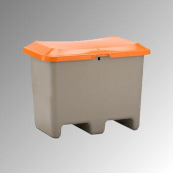 Streugutbehälter für Streusalz, Futtermittel, mit Staplersockel (Einfahrtaschen), 200 l Volumen, 690 x 890 x 600 mm (HxBxT), grau/orange, aus GFK