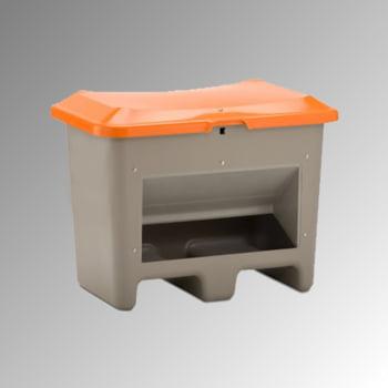 GFK - Streugutbehälter für Streusalz, Futtermittel mit Öffnung und Einfahrtaschen - 200 l Volumen - 690x890x600 mm (HxBxT) - grau