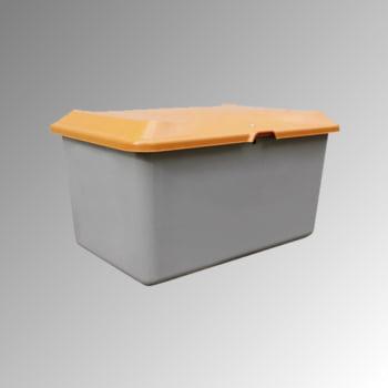 Streugutbehälter für Streusalz, Winterstreumittel, Futtermittel, 400 l Volumen, 670 x 1.210 x 820 mm (HxBxT), GFK, grau/orange