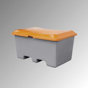 Streugutbehälter für Streusalz, Futtermittel, mit Staplersockel (Einfahrtaschen), 400 l Volumen, 680 x 1.210 x 820 mm (HxBxT), grau/orange, aus GFK