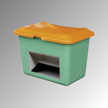 Streugutbehälter für Streusalz, Winterstreumittel, Futtermittel, mit Entnahmeöffnung, 200 l Volumen, 640 x 890 x 600 mm (HxBxT), grün/orange GFK