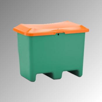 Streugutbehälter für Streusalz, Futtermittel, mit Staplersockel (Einfahrtaschen), 200 l Volumen, 690 x 890 x 600 mm (HxBxT), grün/orange, aus GFK