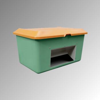 Streugutbehälter für Streusalz, Winterstreumittel, Futtermittel, mit Entnahmeöffnung, 400 l Volumen, 670 x 1.210 x 820 mm (HxBxT), grün/orange GFK