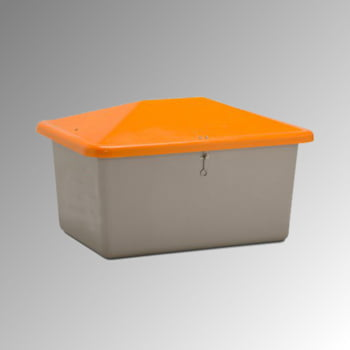 Streugutbehälter für Streusalz, Winterstreumittel, Futtermittel, 550 l Volumen, 780 x 1.340 x 990 mm (HxBxT), GFK, grau/orange