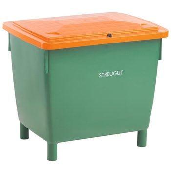 HDPE Universalbehälter für Streugut und andere Stoffe, robust und abschließbar, 210 l Volumen, 775 x 790 x 605 mm (HxBxT), grün/orange