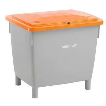 HDPE Universalbehälter für Streugut und andere Stoffe, robust und abschließbar, 210 l Volumen, 775 x 790 x 605 mm (HxBxT), grau/orange