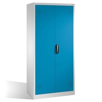 C+P Umweltschrank mit 4 Wannenböden, für wassergefährdende Stoffe, mit Flügeltüren, 1.950 x 930 x 500 mm (HxBxT), Farbe lichtgrau/lichtblau
