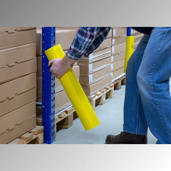 Regalanfahrschutz aus Spezialkunststoff, für Ständerbreiten 75 - 100 mm, Höhe 400 mm, Rammschutz für Palettenregale, Anfahrschutz für Regale