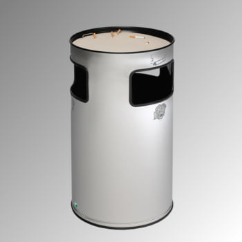 Abfalleimer mit Ascher - Edelstahl - Volumen 69 l - 750 x 420 x 420 mm (HxBxT) - Aschereinsatz Stahl, schwarz online kaufen - Verwendung 0