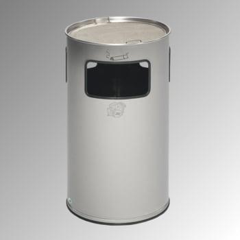 Abfalleimer mit Ascher - Edelstahl - Volumen 69 l - 750 x 420 x 420 mm (HxBxT) - Aschereinsatz Edelstahl