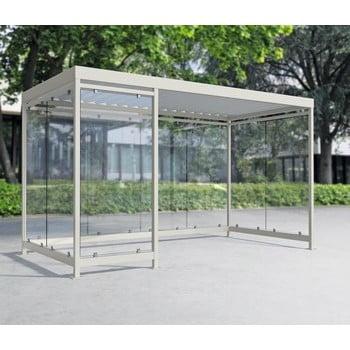 Raucherunterstand, Fahrgastunterstand, Bushaltestelle, Flachdach, für 8-10 Personen, verkehrsweiß, ESG, 2.510 x 4.165 x 2.165 mm (HxBxT), Typengeprüft