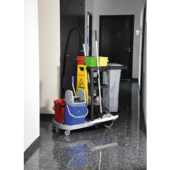 Servicewagen, Reinigungswagen, voll ausgestattet, Zimmerservice, Raumpflege, 500 mm Wischmopp, Mopp-Presse, Müllsackhalter, Doppeleimer, Putzeimer