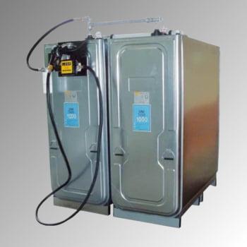Diesel Tankanlage - Tankstation mit Zapfpistole - Zählwerk - Volumen 1.000 l - 50 l/min - 1.590 x 770 x 660 mm (HxBxT)
