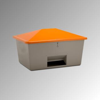 Streugutbehälter für Streusalz, Winterstreumittel, Futtermittel, mit Entnahmeöffnung, 1.100 l Volumen, 1.010 x 1.630 x 1.210 mm (HxBxT), grau/orange