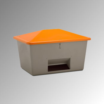 Streugutbehälter für Streusalz, Winterstreumittel, Futtermittel, mit Entnahmeöffnung, 1.500 l Volumen, 1.040 x 1.840 x 1.430 mm (HxBxT), grau/orange