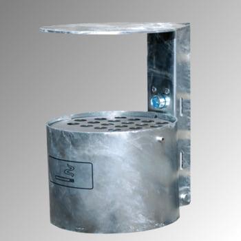 Rundascher - 4 l - mit Haube - Wand- o. Pfostenmontage - Aschenbecher - verzinkt