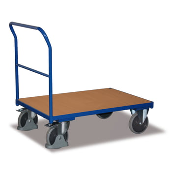 Plattform-Transportwagen - Basis-Schiebebügelwagen - Traglast 400 kg - Ladefläche 500 x 880 mm (BxT) - enzianblau