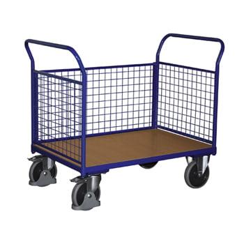 Gitter-Transportwagen, Dreiwand - Tragkraft 500 kg - Ladefläche 775 x 1.200 mm - Drahtgitterwände