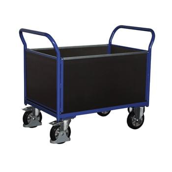 Schwerlast-Transportwagen, Vierwandwagen - Tragkraft 1.000 kg - Ladefläche 650 x 995 mm (BxT) - Holzwände