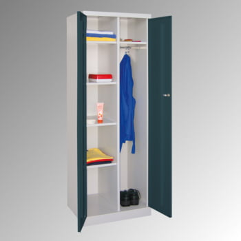 Kleiderschrank mit Sockel - Spind - 1 Abteil mit Trennwand - 1.800x600x500 mm (HxBxT) - Zylinderschloss - lichtgrau/feuerrot