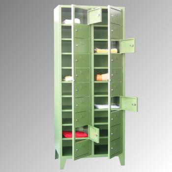 Schließfachschrank - 20 Fächer a 315 mm - 1.850x770x500 mm (HxBxT) - Füße - Zylinderschloss - lichtgrau/feuerrot