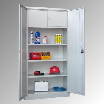 Universalschrank mit Wertfach - 1.950x1.000x600 mm (HxBxT) - 3 Böden, pulverbeschichtet - lichtgrau/feuerrot online kaufen - Verwendung 2