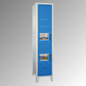 Schließfachschrank - 10 Fächer a 315 mm - 1.850x400x500 mm (HxBxT) - Füße - Zylinderschloss - lichtgrau/enzianblau
