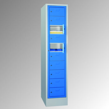 Schließfachschrank - 10 Fächer a 315 mm - 1.850x400x500 mm (HxBxT) - Sockel - Zylinderschloss - lichtgrau/enzianblau