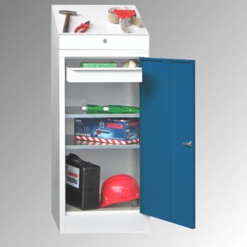 Stehpult mit Schrank - Vollblechtür - Zylinderschloss - 2 Einlegeböden, 1 Schublade - 1.270x500x500 mm (HxBxT) - lichtgrau/enzianblau