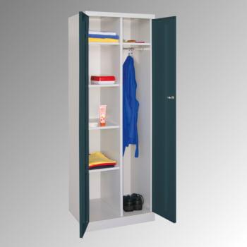 Kleiderschrank mit Sockel - Spind - 1 Abteil mit Trennwand - 1.800x600x500 mm (HxBxT) - Zylinderschloss - lichtgrau/enzianblau