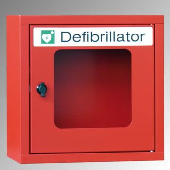 Defibrillatorenschrank - 400x400x220 mm (HxBxT) - Sichtfenster - feuerrot