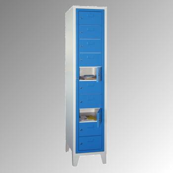Schließfachschrank - 10 Fächer a 315 mm - 1.850x400x500 mm (HxBxT) - Füße - Zylinderschloss - enzianblau