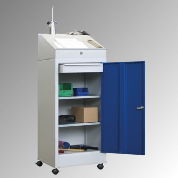 Stehpult, fahrbar - 2 Einlegeböden, 1 Schublade - Vollblechtür - Zylinderschloss - 1.330x500x500 mm (HxBxT) - enzianblau