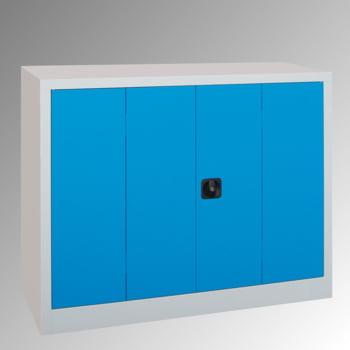Falttürenschrank - 1000x1200x400 mm - 2 verzinkte Böden - enzianblau
