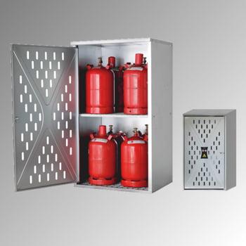 Gasflaschenschrank, Flaschenschrank, für 5 kg, 11 kg oder 33 kg Propangas, Flüssiggas, Rückwand, Bodenrost, Zwischenrost, 1.500 x 840 x 690 mm (HxBxT)