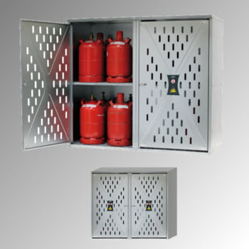 Gasflaschenschrank, Flaschenschrank, für 5 kg, 11 kg oder 33 kg Propangas, Flüssiggas, 2-Türig, Rückwand, Bodenrost, 1.500 x 1.680 x 690 mm (HxBxT)