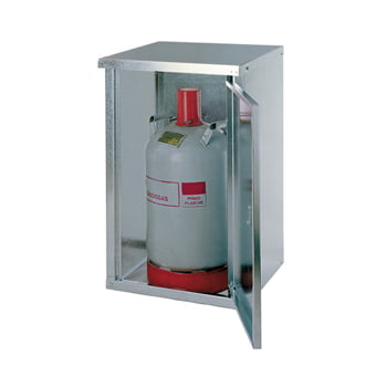 Gasflaschenschrank, Flaschenschrank, für 1 x 11 kg Propangas, Flüssiggas, mit Rückwand und Bodenrost, Abschließbar, 750 x 460 x 400 mm (HxBxT)