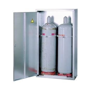 Gasflaschenschrank, Flaschenschrank, für 2 x 33 kg Propangas, Flüssiggas, mit Rückwand und Bodenrost, Abschließbar, 1.485 x 840 x 400 mm (HxBxT)