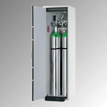 Druckgasflaschenschrank, Gasflaschenschrank, für 2 x 50 l Gasflaschen, Schutzgas, Feuerwiderstand G30, 2.050 x 598 x 616 mm (HxBxT), lichtgrau