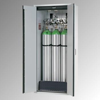 Druckgasflaschenschrank, Gasflaschenschrank, für 3 x 50 l Gasflaschen, Schutzgas, Feuerwiderstand G30, 2.050 x 989 x 616 mm (HxBxT), lichtgrau