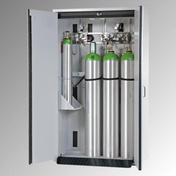 Druckgasflaschenschrank, Gasflaschenschrank, für 4 x 50 l Gasflaschen, Schutzgas, Feuerwiderstand G30, 2.050 x 1.198 x 616 mm (HxBxT), lichtgrau
