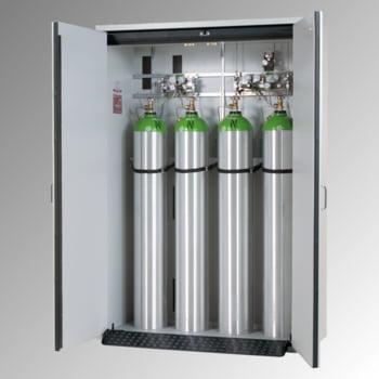 Druckgasflaschenschrank, Gasflaschenschrank, für 4 x 50 l,Gasflaschen, Schutzgas, Feuerwiderstand G30, 2.050 x 1.398 x 616 mm (HxBxT), lichtgrau