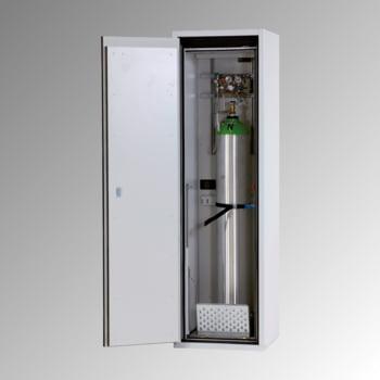 Druckgasflaschenschrank, Gasflaschenschrank, für 1 x 50 l Gasflasche, Schutzgas, Feuerwiderstand G90, 2.050 x 598 x 615 mm, lichtgrau