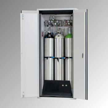 Druckgasflaschenschrank, Gasflaschenschrank, für 3 x 50 l Gasflaschen, Schutzgas, Feuerwiderstand G90, 2.050 x 898 x 615 mm, lichtgrau