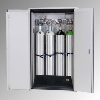 Druckgasflaschenschrank, Gasflaschenschrank, für 4 x 50 l Gasflaschen, Schutzgas, Feuerwiderstand G90, 2.050 x 1.200 x 615 mm, lichtgrau