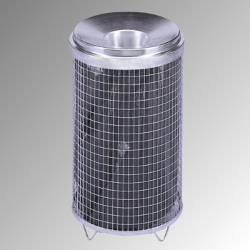 Drahtgitter-Abfallsammler - Trichteraufsatz - feuerverz. - Inh. 65 l,Farbe verzinkt