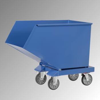 Muldenkippbehälter mit Staplertaschen - 600 l - 750 kg - brillantblau