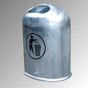Ovaler Abfallbehälter für Wand-/Pfostenmontage - 45 l - mit Aufkleber - verzinkt