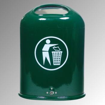 Ovaler Abfallbehälter mit Federklappe - mit Aufkleber - Pfosten-/Wandmontage - 45l - feuerverzinkt